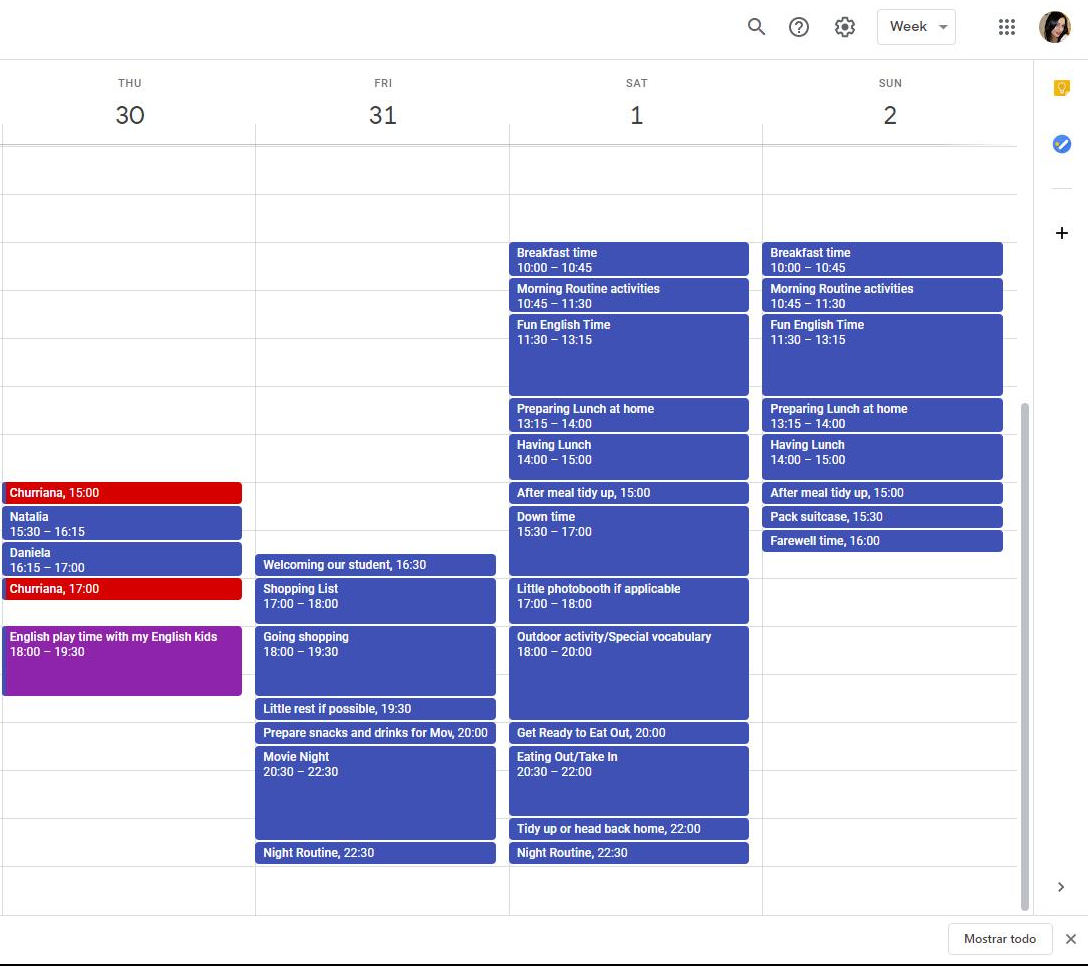 WeekEND IMMERSION PLANNING